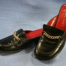 NINE WEST WOMENS BLACK LEATHER MULES LOAFERS 6 M EUC