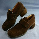 ECCO WOMENS BROWN SUEDE LOAFERS SHOES 37/6.5 M