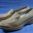 BCBG MAX AZRIA TAN LEATHER WEDGE SOLE LOAFERS 9.5 B