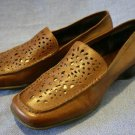 NINE WEST BROWN LEATHER CUTOUT LOAFERS 7.5 M EUC