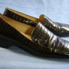 ANN TAYLOR WOMENS BROWN CROCO LEATHER LOAFERS 8 M