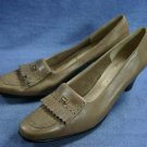 FERRAGAMO TAUPE LOAFER STYLE PUMPS 9 4A AAAA NEW