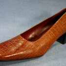 NATURALIZER WOMENS BROWN CROCO LEATHER PUMPS 8.5 N NEW