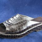 COLE HAAN WOMENS BRN CROCO LEATHER SLIDE SANDALS 7 B