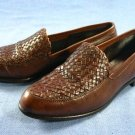 EDDIE BAUER ITALY BROWN WOVEN LEATHER LOAFERS 7 M