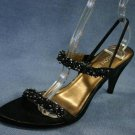BISOU BISOU BLACK BEADED STRAPPY SANDALS 6.5 M NEW