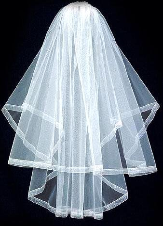 Organza Ribbon Edge 2 Tier Waist Length Veil