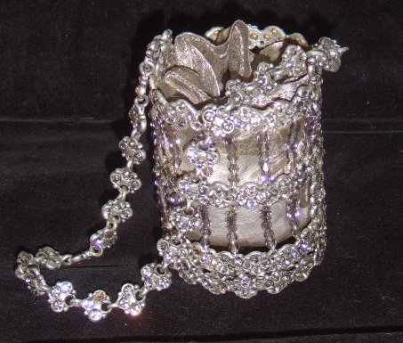 Russian Czarina Rhodium & Crystal Purse with Organza lining.