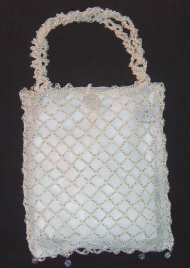 Vintage Artisan Crocheted Metal  over silk Bag by Lisa Toland