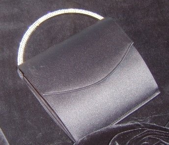 Black Matte Satin Evening Bag w/ Swarovski Pave Crystal Handle