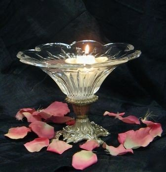 Victorian Silver & Crystal Pedestal Bowl