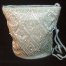 Ice Blue Satin & Bead Evening Bag