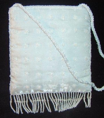 Irridescent Ice Blue Tafetta Beaded, Fringed Evening Bag