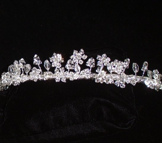 Floating Flowers Swarovski Crystal Tiara in custom colors