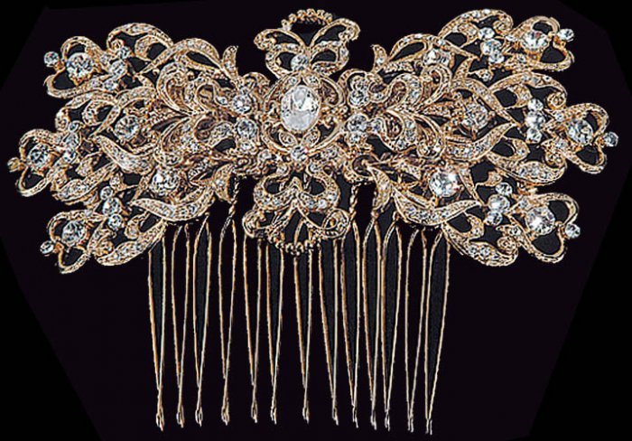 Large Scroll Convertible Comb - Brooch by AA Bridal