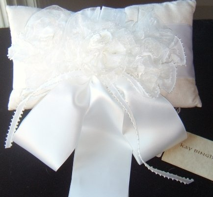 Kay Bingham White Silk Pillow with Satin,crepe & organza