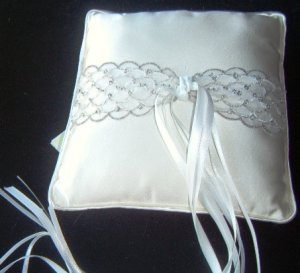 Silver Lace Tailored Ringbearer Pillow