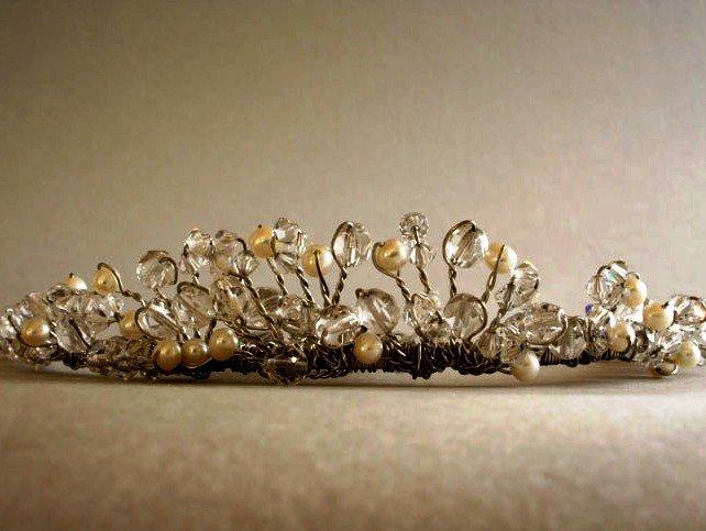 My True Love Tiara of Freshwater Pearls & Crystals