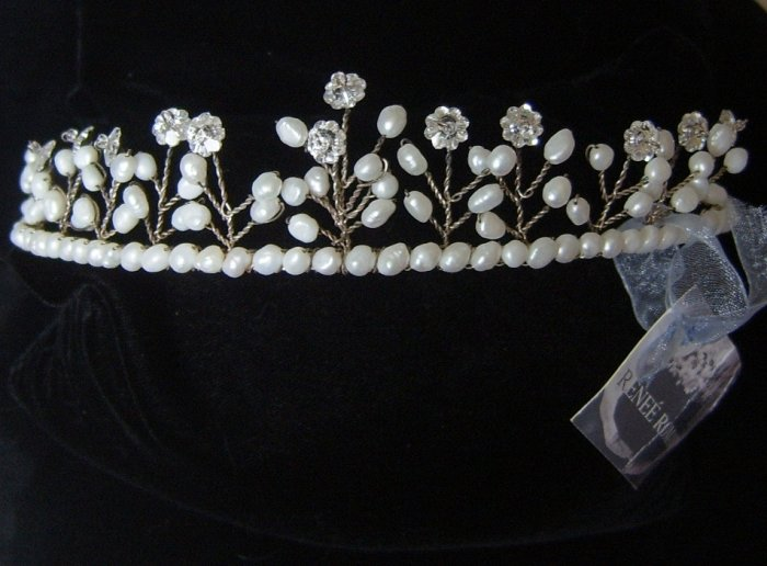 "Renee Romano ""Natalie"" Tiara of Freshwater Pearls and Margarita Crystals"