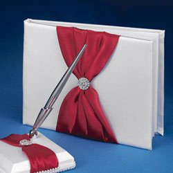 The Splendid Guest Book & Pen w/ brooch Avail in 47 colors of Satin