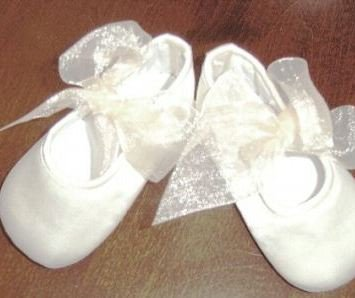 Simply Satin Crib Shoes w/ Organza Bows in White or Ivory