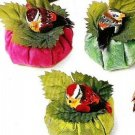 Set of 6 Silk Dupioni Sachets w/ feathered birds