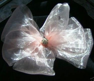 Sheer Organza Girl's  Hair Bow w/ crystal Flower Center