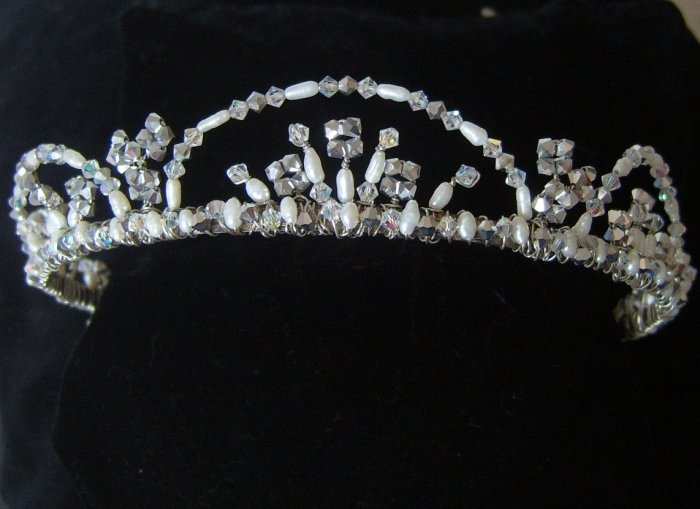Genevieve Tiara in Freshwater Pearls and Swarovski Crystal by Elizabeth Claire