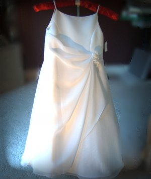 Sarah Louise White Matte Satin & Chiffon Special Occassion Dress w/ Assymetrical drape and beading.