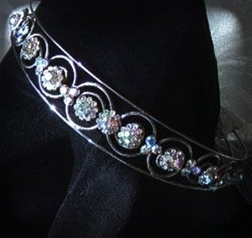 Caroline's Circles Band/Tiara in Silver and Aurora Borealis Crystal