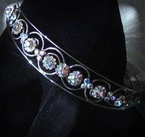 Caroline's Circles Band/Tiara in Silver and Aurora Borealis Crystal