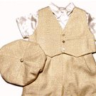 Christening/Wedding  Boys Dress Silk 5 Piece Ivory & Natural Outfit by Sarah Louise