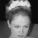 Kristina's Rolled Rose Italian Silk Satin Headpiece with Swarovski Crystals