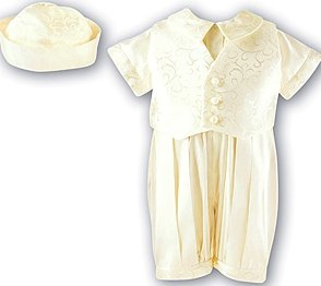 Silk Christening Ensemble for boys by Sarah Louise, UK