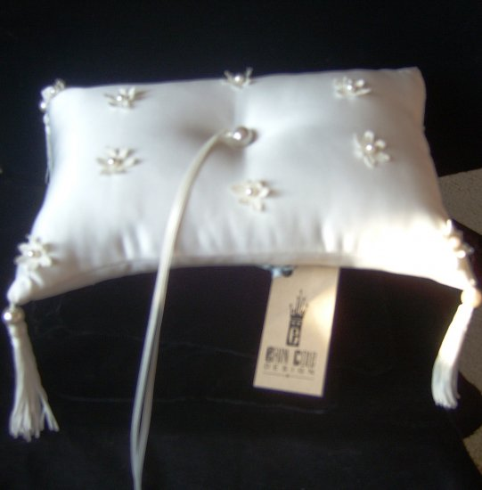 Sprinkled Flowers Silk Satin Ringbearer Pillow by Erin Cole