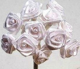 Package of 48 White Ribbon Roses for Favors and Crafts