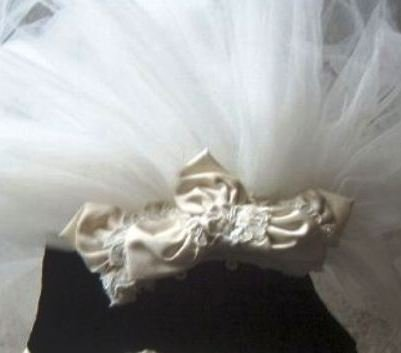 Faran Silk Satin & Lace Fabric with 3 Tier Waterfall Veil in Diamond White