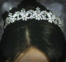 Beaded Elegance Tiara in Silver, Crystal and Freshwater Pearls by Giselle Bridals