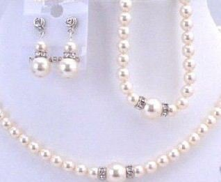 3 Piece Pearl & Crystal Rondell Jewelry Set in Organza Pouch