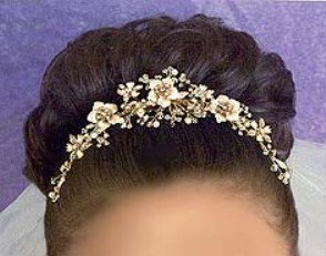 Champagne & Roses Bridal Comb in Champagn & Gold with crystal & pearls