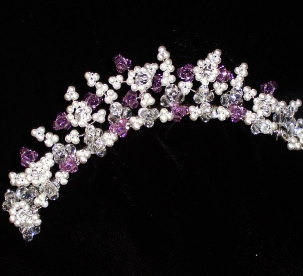 Sparkling Colours Tiara Comb with Pearls & your choice of Swarovski Crystals