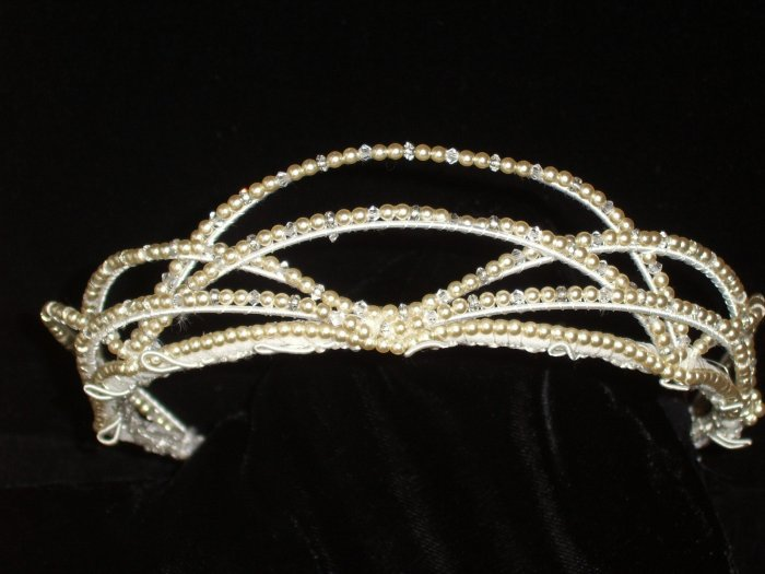 Lattice Tiara of Freshwater Pearls & Clear Crystals by Kristina Eaton