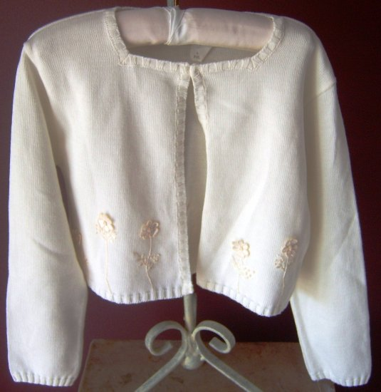 Sarah Louise Ivory Appliqued Knit Cardigan
