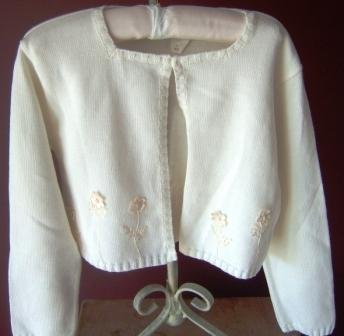 Sarah Louise Ivory Appliqued Knit Infant's Cardigan