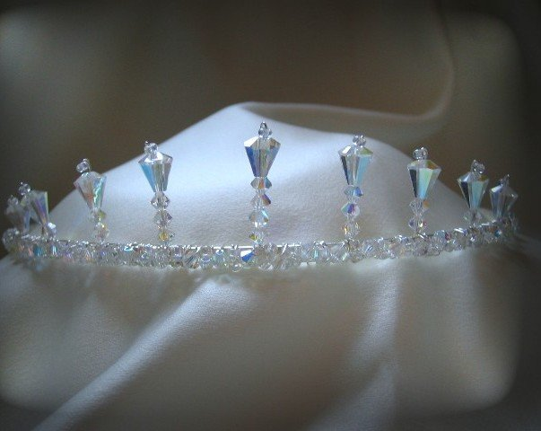 Calli's Crown- A handcrafted artisan tiara of Aurora Borealis Crystals