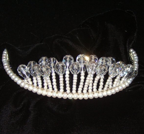 Crystal Lights Freshwater Pearl & Swarovski Crystal Tiara by Winters and Rain