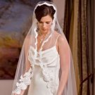 White  Chapel Length Mantilla with Alencon Lace  with custom made Keepsake Bag.