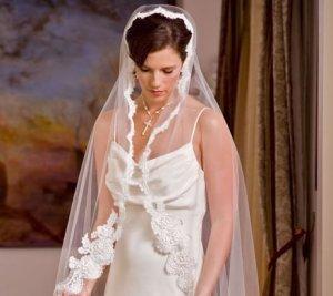 White  Chapel Length Mantilla with Alencon Lace  with custom made Keepsake Bag.