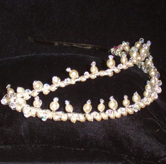 Stephana split Swarovski Pearl & Crystal Tiara by Kristina Eaton