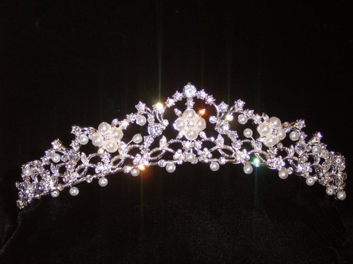 Cara's Crystal Crown in Silver with Crystals accented with pearls